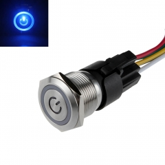 16mm Latching Switch 12V Angel Eye LED with Power Symbol