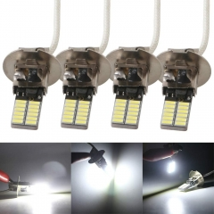LED H3 H1 Bulbs for Universal Motorcycle Truck Car Warning Signal Lamp Fog light 360LM